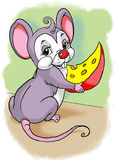 Little mouse eating cheese Stock Images