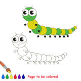 Little millipede cartoon. Page to be colored. Royalty Free Stock Image