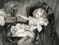 The Little Mischief Maker Victorian Girl Vintage Illustration. A cute little Victorian girl sits in a big ornate chair, but she is also a little mischief maker royalty free illustration