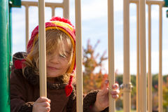 Little Mischievous Girl at the Playground Royalty Free Stock Photo