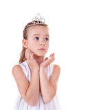 Little Miss. Young girl on white background Royalty Free Stock Images