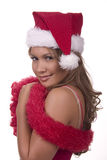 Little Miss Chevious. Brunette in Christmas get-up and teasing Royalty Free Stock Images