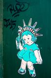 Little Miss Liberty. And graffiti in Greenwich Village, New York City Stock Images