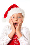 Little miss santa amazed Stock Photography