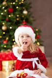Little miss santa thumb up and shouting Royalty Free Stock Images