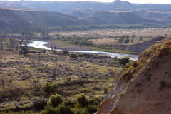 Little Missouri River. The Little Missouri River in the Theodore Roosevelt National Park, Medora, North Dakota stock photo