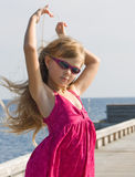 Little model posing on the deck Stock Photography