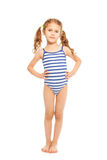 Little model in stripped swimming suit Stock Photography