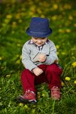 Little modern boy with mobile phone Stock Photo