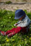 Little modern boy with mobile phone Stock Photography