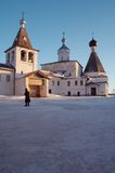 Little monastery in winter. Little monastery in Ferapontovo village, Russia royalty free stock photography