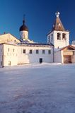 Little monastery in winter. Little monastery in Ferapontovo village, Russia royalty free stock photos