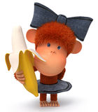 The little monkey with banana Stock Photography
