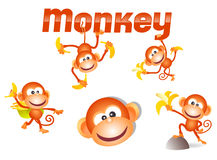 Little monkey character. With lots of poses Royalty Free Stock Photos