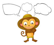 A little monkey with empty callout Royalty Free Stock Photography