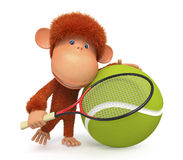 The little monkey plays tennis Royalty Free Stock Image