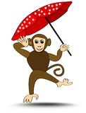Little monkey romping with red dotted umbrella,  cartoon illustration on white background, decoration for kindergarten Stock Images