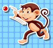 Little monkey throwing red ball Stock Image
