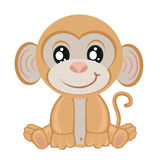 Little monkey on a white background.children clip-art Royalty Free Stock Image