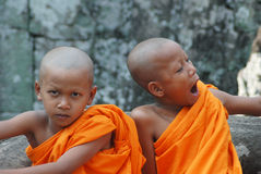 Little monks in Cambodia. Little monks in Angkor Wat ,Cambodia royalty free stock image