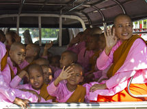 Little monks in a van Royalty Free Stock Images