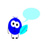 Little monster with ball and speech bubble Stock Photos