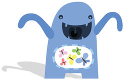 Little Monster with Butterflies in His Stomach. Little Blue Smiling Monster with Butterflies in His Stomach and Shadow Royalty Free Stock Photos