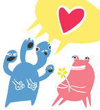 Little Monster Confessing His Love. Little Blue Four Headed Monster Confessing His Love to a Pink Mosnster Stock Image