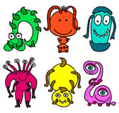Little monsters. Illustration of 6 different monsters royalty free illustration