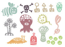 Little monsters. Set of cute little monsters stock illustration