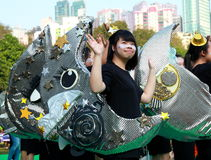 Little Moon Girl in Grand Finale Parade. Standard Chartered Arts in the Park Mardi Gras is one of Hong Kong's largest and most vibrant annual community arts Stock Images