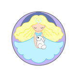 Little moon princess girl holding a rabbit. Cute little moon princess girl holding a rabbit. Round colored illustration isolated on white background Stock Photography