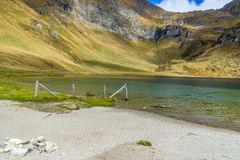 Little mountain lake with clear water stock photos