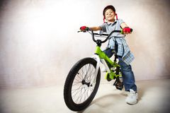 Little mountainbiker Stock Photography