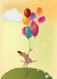 Little Mouse And Balloons. Cartoon Royalty Free Stock Image