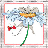 Little mouse on the big chamomile Stock Image