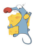 Little mouse and cheese cartoon Royalty Free Stock Photo