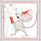 Little mouse and fireworks. On white background in frame Stock Photos