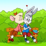 Little mouse kissing shy rabbit on bush background Stock Photos