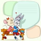 Little mouse kissing shy rabbit on text background Royalty Free Stock Image