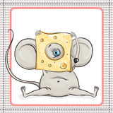 Little mouse looks at the big piece of cheese Stock Photography
