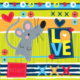 Little mouse love illustration Stock Photography