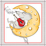 Little mouse on the moon playing the guitar Royalty Free Stock Photography