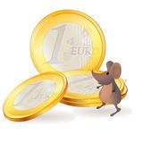 Little mouse near Euro coins. Little mouse near big Euro coins stock illustration