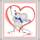 Little mouse paints heart Royalty Free Stock Photo