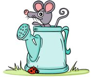 Little mouse in watering can Stock Photography