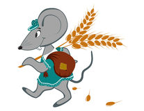Little mouse with wheat. On a white background Royalty Free Stock Photo