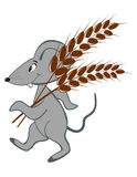Little mouse with wheat Stock Photography