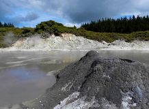 Little mud volcano in New Zealand stock photo