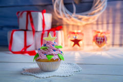 Little muffin in the shape of Christmas tree Royalty Free Stock Photo
